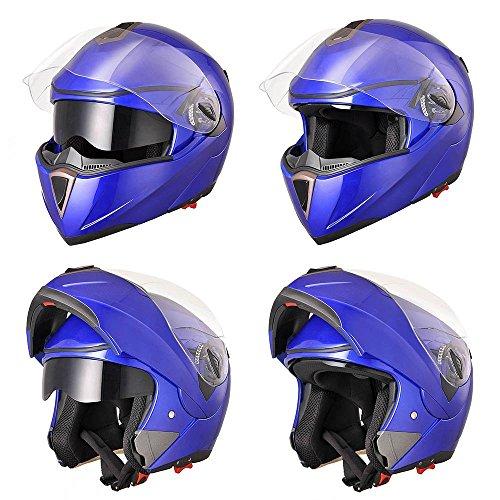 Price comparison product image LeeMas Inc Full Face Flip-up Modular Motorcycle Helmet DOT Approved Dual Visor Clear Dark Air Vent Design Lightweight Motocross Blue L