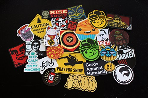 Assorted Sticker Pack of 30 (Various Brands) (Assorted Snowboarding Stickers)