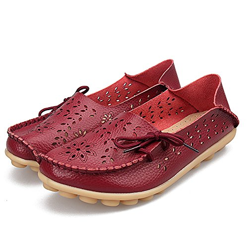 Shoes Women Burgundy Leather H Loafers Slip On Flats YIRUIYA for w0tqZxR