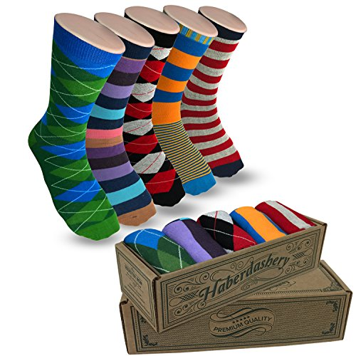 Modern Motif Men's Power Socks, 5 Pairs Per Sock Gift Box, Funky Men's Crew Socks, Colorful Patterned Socks for Men, Ideal Coworker, Dad, Boss, and College Graduation Gift, Jefe Collection