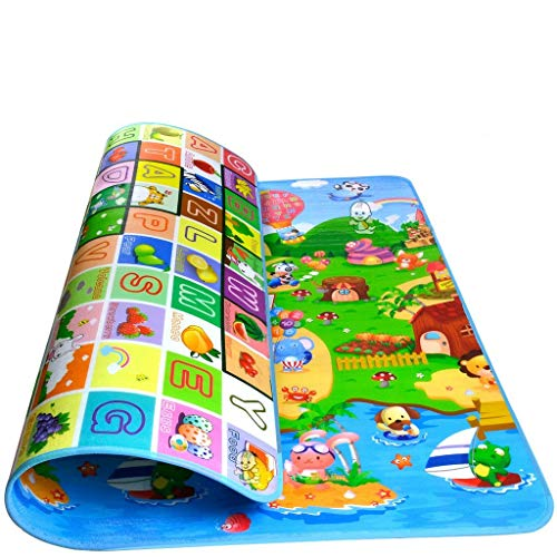 Sytian Baby Play Mat Baby Care Mat Kids Play Mat Kids Game Mat Crawling Pad Kids Playing Mat for Indoor and Outdoor Use (Farm + Fruit + Alphabet,180x120x0.5cm)