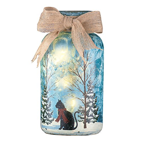 Collections Etc Indoor Winter Decorations, Frosted Mason Jar Snowy Pet Design Lamp with Burlap Bow, Cat