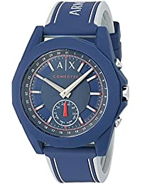 Armani Exchange Men's 'Drexler' Quartz Resin and Silicone Smart Watch, Color Blue (Model: AXT1002)
