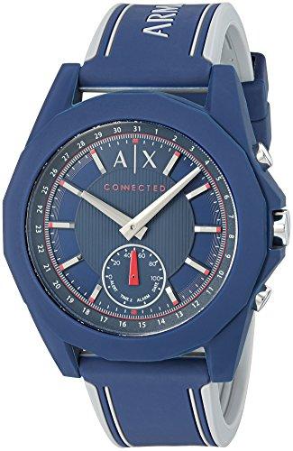 Armani Exchange Men's 'Drexler' Quartz Resin and Silicone Smart Watch, Color:Blue (Model: AXT1002)