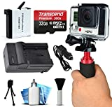 AHDBT401 AHDBT-401 High Capacity Battery + Home Wall & Travel Car Charger + 32GB MicroSD Memory Card + Action Stabilizer Handle + Dust Removal Cleaning Kit for GoPro HERO4 Hero 4 Black Silver