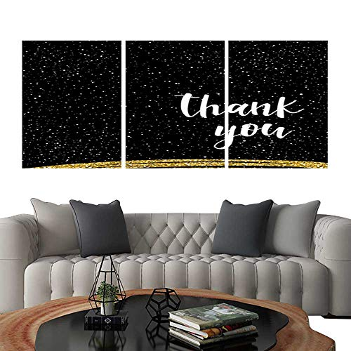 Pictures Paintings on Canvas WallHandwritten lettering isolated on black Doodle handmade thank you quote for design t-shirt card invitation poster brochures notebook scrapbook album etc Gold texture -