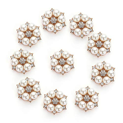 10pcs Rhinestone Pearl Embellishments, Faux Pearl Flower Buttons Embellishments for Wedding Party Home Decoration and DIY Crafts ()