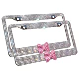 Product review for Carfond 7 Row Pure Handmade Waterproof Bling Bling Rhinestones Stainless Steel License Plate Frame With HOT Pink Bow 2 Holes Bonus Matching Screws & Caps (clear/pink bowtie)