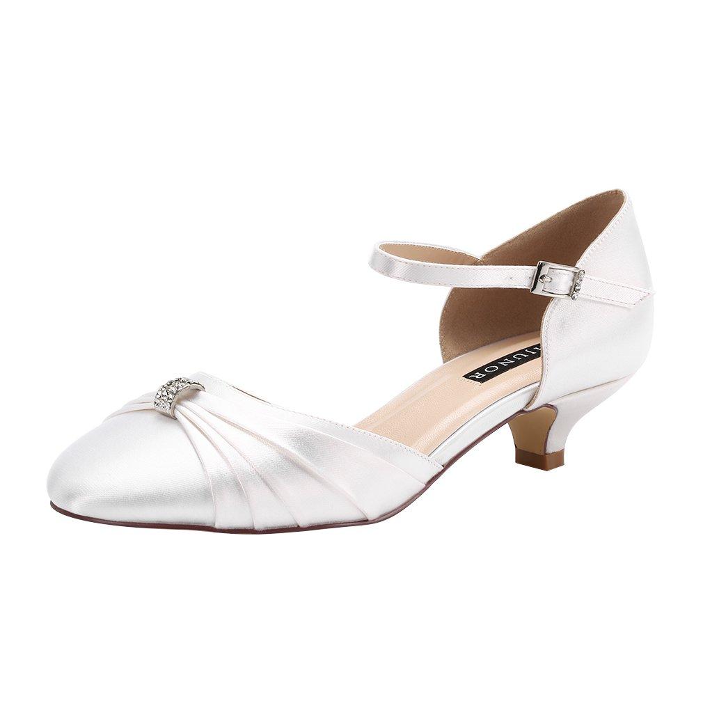 ERIJUNOR E0713B Women Comfort Low Kitten Heel Buckle Ankle Strap Dyeable Satin Bridal Wedding Shoes White Size 9