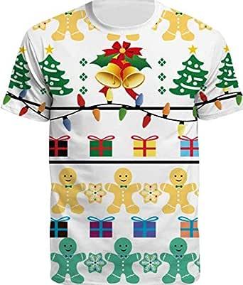 Santa Bell snowflake T-Shirt Short Sleeve Top Christmas White green T-Shirt