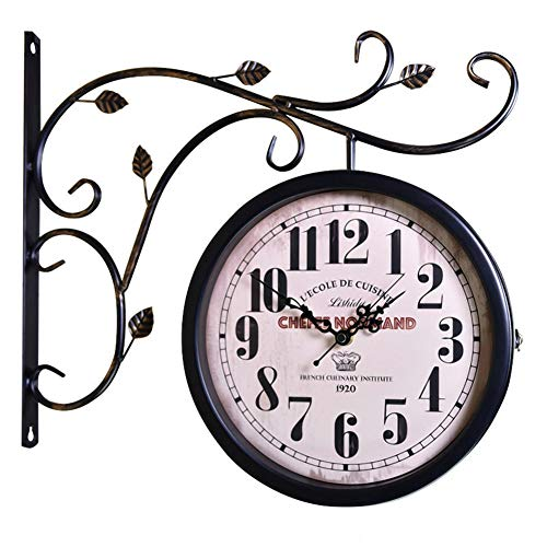 DENG&JQ Wall Clock,Retro Wrought Iron Clock Mute European Double-Sided Clock American Country Living Room Craft Clock 360 Degree Rotate-M 40.5cm(16inch) ()