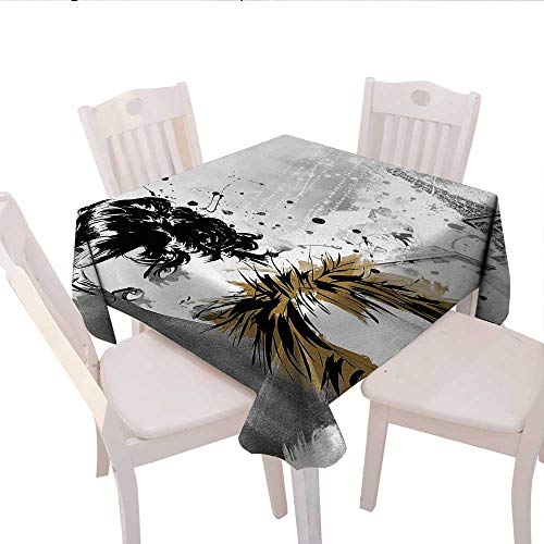 Modern Square Tablecloth Posing Fashion Model Girl with Feathers and Dots Paris Eiffel Contemporary Artful Farmhouse Tablecloth 50