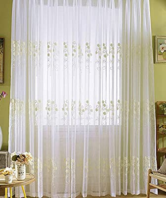 Aside Bside Plum Blossom Floral Embroidery Natural Style White Sheer Curtains Rod Pocket Voile Sheer Curtain Drapes Panels for Living Room Bedroom
