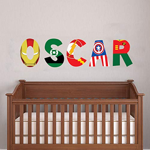 superhero themed alphabet decal for nursery decor superhero symbol kids name sticker art Peel and Stick wall letter stickers removable