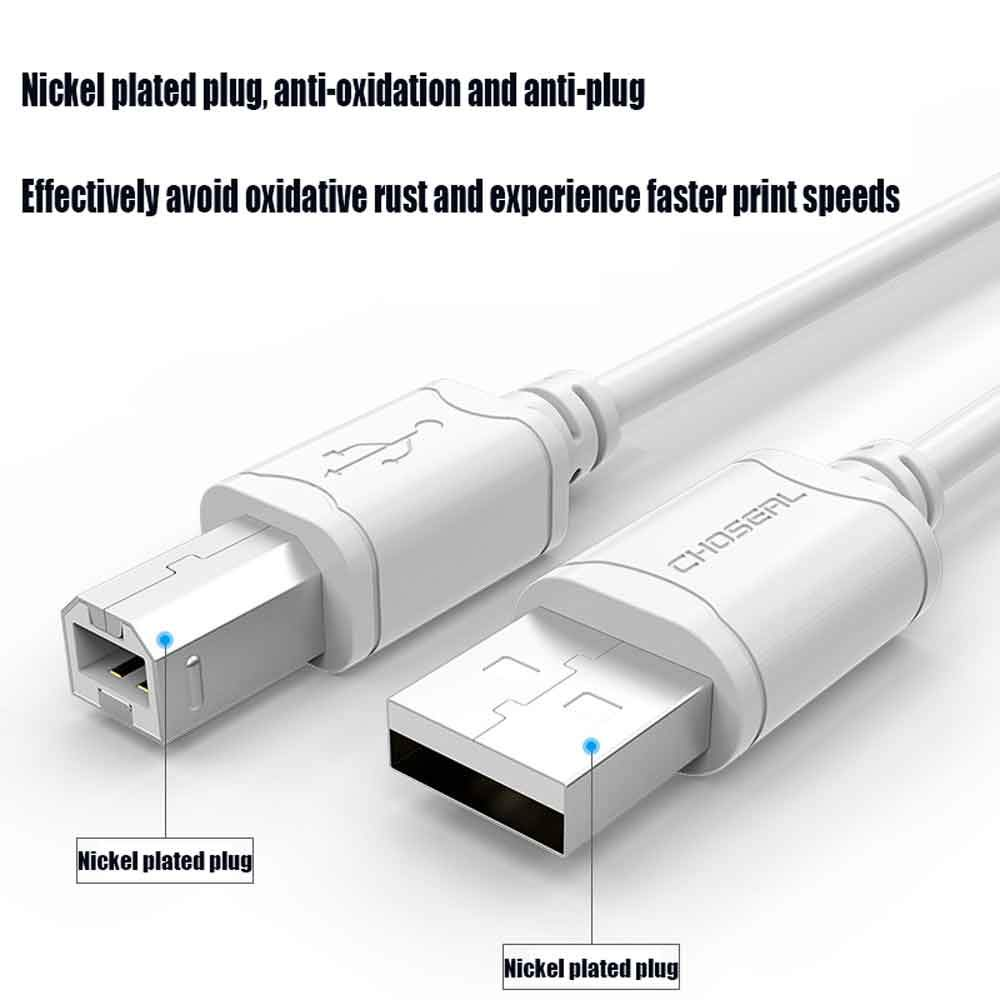 USB C to B Cable USB 2.0 Printer Cable USB Type A Male to B Male Scanner Print Cable for Audio Interface USB Microphone Speaker Epson HP Dell Canon-White,3m