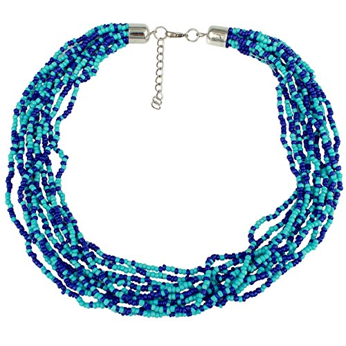 Multi Strand Royal Blue Seed Bead Necklace (Blue Strand Multi Necklace)