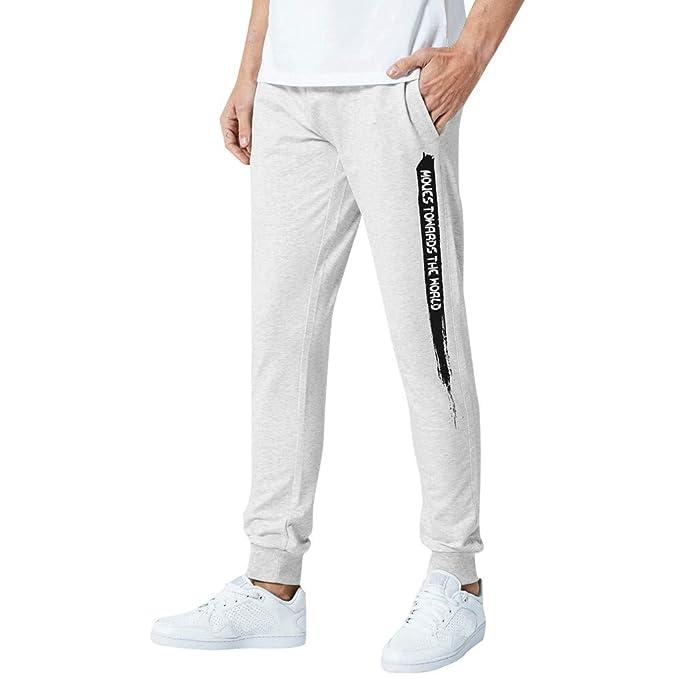 VPASS Pantalones Hombre,Impresión de Letras Pantalones de Chándal ...
