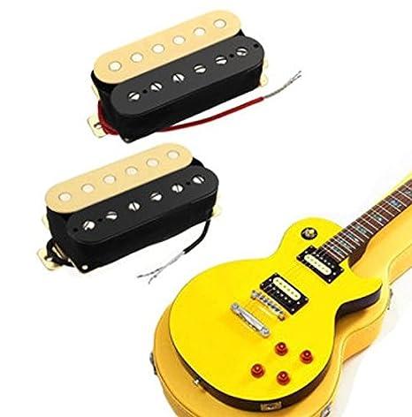 2pcs Guitarra doble bobina Pastillas Humbucker cuello puente Zebra Kit de Pastillas para guitarra Bass por shopidea: Amazon.es: Instrumentos musicales