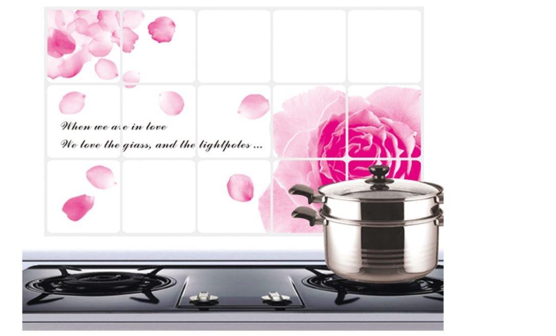 4575cm Pink Rose Aluminum-foil Paper Oil-proof Wall Sticker Kitchen Waterproof Wall Paper by AdvancedShop