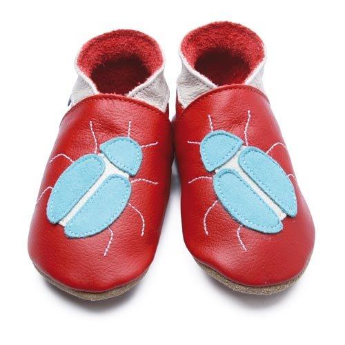 Inch Blue Chaussures Bébé Souples - Beetle - Rouge / Turquoise - T 17-18 cm