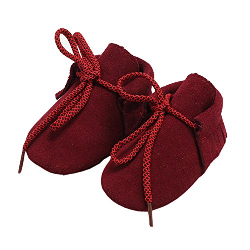leap frog  Lace Up Moccasins, Baby Jungen Lauflernschuhe Weinrot