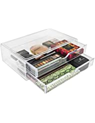 Sorbus Acrylic Cosmetics Makeup and Jewelry Storage Case X-Large Display Sets –Interlocking Scoop Drawers Create Your Own Makeup Counter –Stackable and Interchangeable