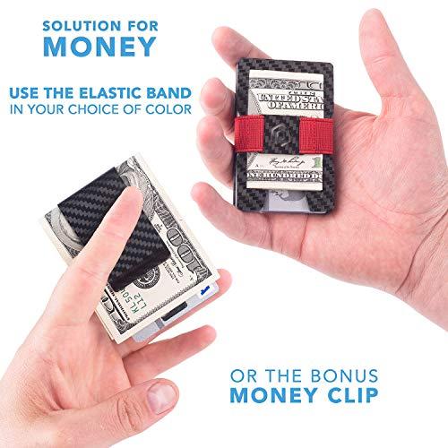 Mens Slim Credit Card Holder PIRNA Minimalist Carbon Fiber Wallet /& Money Clip