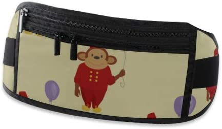 Travel Waist Pack,travel Pocket With Adjustable Belt Circus Cartoon Monkey Character Animal Wild Running Lumbar Pack For Travel Outdoor Sports Walk