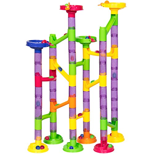 Kids Toy 58 Piece Translucent Marble Run Set Coaster Railway Toy Game Set 43 Building Blocks+15 Marbles (58 Piece Set)