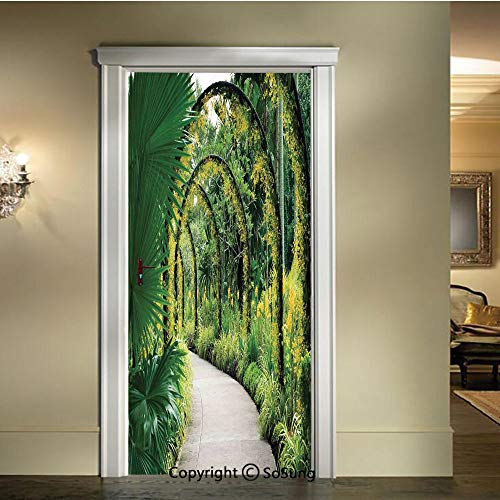 (baihemiya Applique Sticker,Scenic-Artificial-Arcs-with-Many-Orchids-in-Botanical-Garden-Tropical-Pants-Park,W30.3xL78.7inch,for Home Decor Self-Adhesive Removable Art Door Decals)