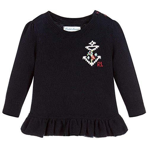 (Ralph Lauren Baby Girls Peplum Sweater Anchor Sweater (18 Months))