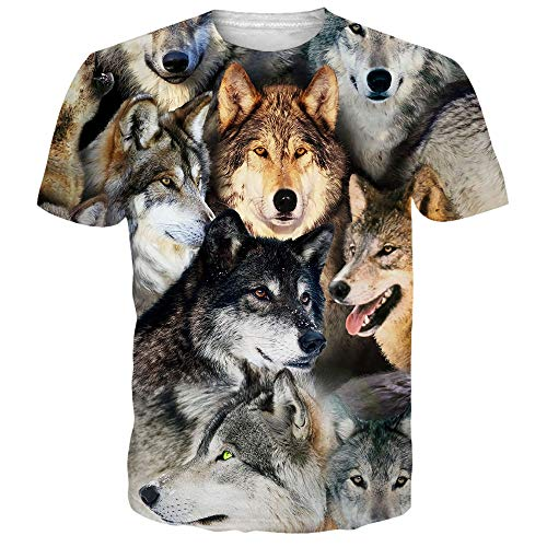 (Alistyle Unisex T Shirts Men Wolves Printed Short Sleeve Summer Casual Tee Top M)