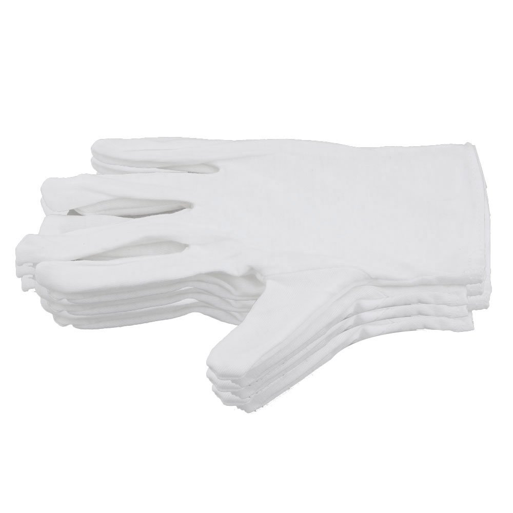 Yibuy White Cotton Performance Gloves for Saxophone Trumpet Flute Clarinet Set of 10 etfshop YB2704