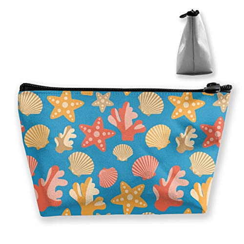 (Premium Trapezoidal Storage Organizer Bag Portable Toiletry Bag Make Up Cosmetic Pouch Travel Toiletry Clutch Bag With Zipper (Starfish Corals Scallops Shells))