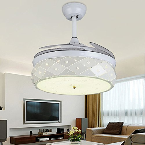 Yue Jia 42 Inch Promoting Natural Ventilation White Invisible Fan Modern Luxury Dimmable (Warm/Daylight/Cool White) Chandelier Foldable Ceiling Fans With Lights Ceiling Fans with Remote Control by YUEJIA (Image #1)