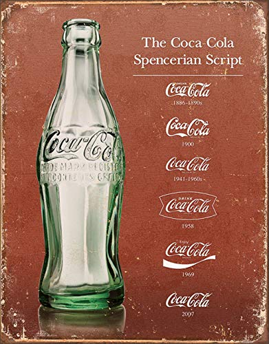 Desperate Enterprises Coca-Cola - Script Heritage Tin Sign, 12.5