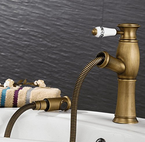 A Mildemr European Style Antique Pull Faucet, All Copper Washbasin, Shampoo, Hot and Cold Water Faucet Table, Basin Top Basin Faucet,A