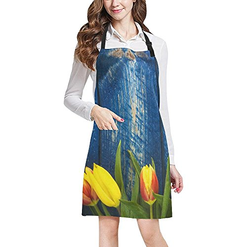 InterestPrint Abstract Spring Tulips Flowers on Blue Wooden Kitchen Apron - Mens and Womens Bib Apron - Adjustable with Pockets for Cooking Baking Gardening, Large Size by InterestPrint
