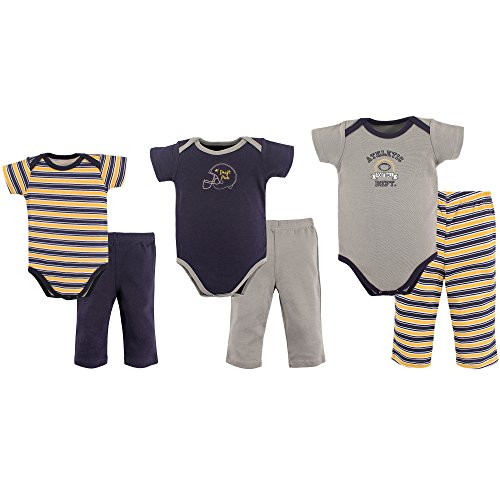 Hudson Baby Baby Grow with Me Box Set, 6 Piece, Football, Navy, 0-9 Months