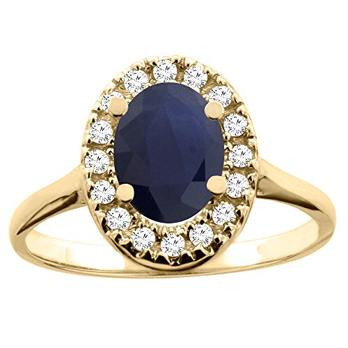 14K Yellow Gold Natural Blue Sapphire Ring Oval 8x6mm Diamond Accent, size 6.5 14k Yellow Gold Natural Sapphire