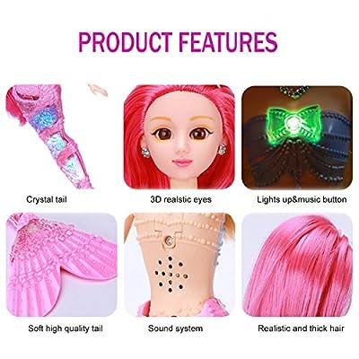 Mrocioa Mermaid Toys Doll for Girls Singing&Lights,3D Real Eyes,14