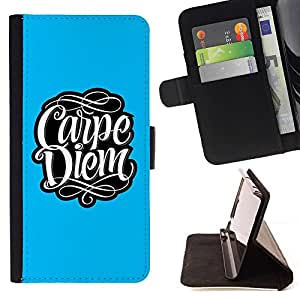 DEVIL CASE - FOR Apple Iphone 5C - Carpe Diem Message Typography - Style PU Leather Case Wallet Flip Stand Flap Closure Cover
