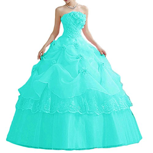 Favors Women's Quinceanera Dress Ball Gown Long Tulle Strapless Prom Gown Tiffany Blue 2