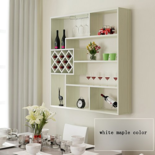 - Wine Rack Wall-mounted Modern Simple Restaurant Shelves Household Creative Lattice Wine Cabinet Living Room (Color : White maple color)