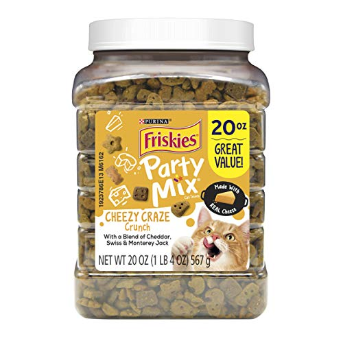 (Purina Friskies Made in USA Cat Treats; Party Mix Cheezy Craze Crunch - 20 oz. Canister)