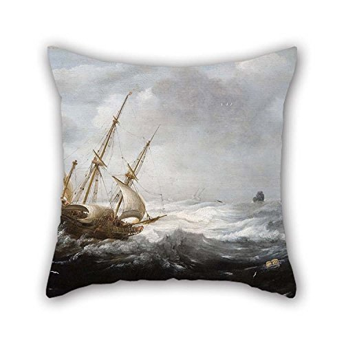 beeyoo Oil Painting Jan Porcellis - Ships in A Storm On A Rocky Coast Throw Pillow Case 20 X 20 inches / 50 by 50 cm Gift Or Decor for Drawing Room Lounge Girls Festival Indoor Bar - Each Side -