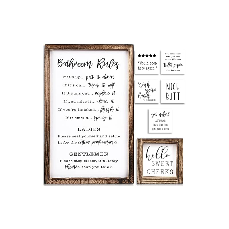 KIBAGA Farmhouse Bathroom Wall Decor Set of 2 - Funny Bathroom Signs with Rules and 8 Interchangeable Sayings - Rustic…