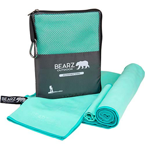 affordable BEARZ Outdoor Microfiber Towel Set, 2 Pack Quick Dry Towel. Lightweight Travel Towel, Camping Towel. Fast Drying Gym Towel for Beach, Workout, Yoga, Backpacking (Mint Green)