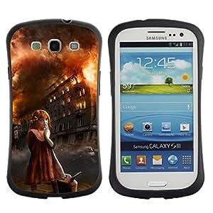 "Hypernova Slim Fit Dual Barniz Protector Caso Case Funda Para SAMSUNG Galaxy S3 III / i9300 / i747 [Chica Arson malvado monstruo de Halloween""]"