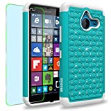 Microsoft Lumia 640 XL Case, INNOVAA Fashion Studded Rhinestone Armor Case W/ Free Screen Protector & Stylus Pen - Teal